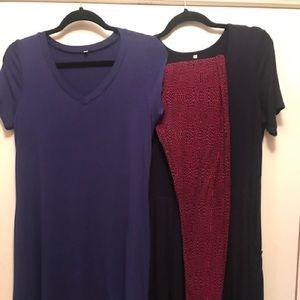 Trio - Lularoe OS leggings, 2 dresses